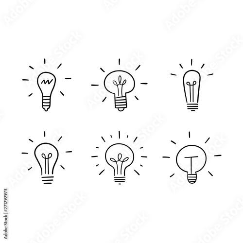 Light bulb doodles set Fototapet