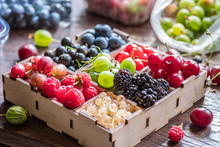 Colorful Berries In Wooden Crate On The Table.