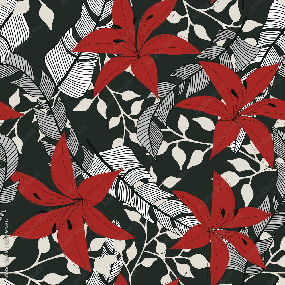 Abstract seamless pattern with tropical plants and leaves on grey background. Vector design. Jungle print. Textiles and printing. Floral background.