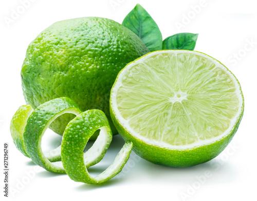 Fotografie, Obraz  Ripe lime fruits on the white background.