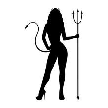 Black Silhouette Of A Beautiful Demon Girl