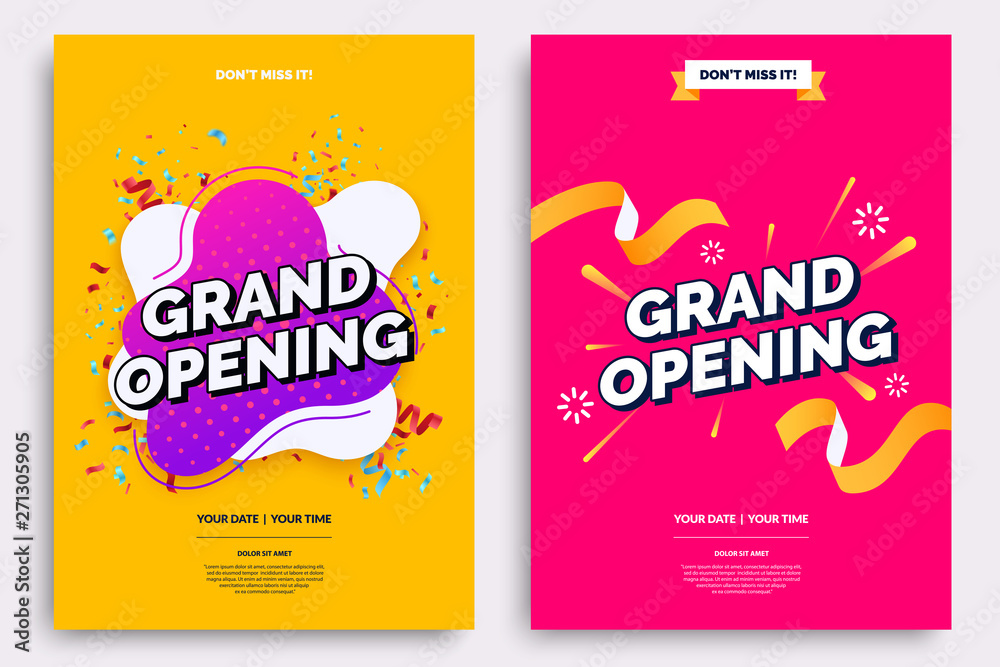 Fototapeta Grand opening invitationt template. Colorful creativity design with bold text, bright background and a burst of confetti. Ribbon cutting ceremony. Vector illustration.