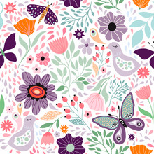 Floral Decorative Seamless Pattern With Butterflies And Different Flowers