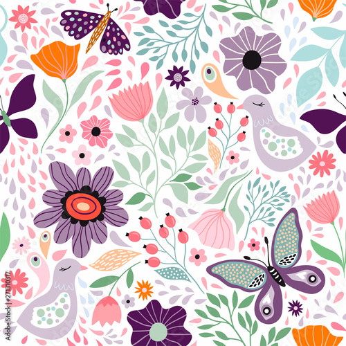 Recess Fitting Pattern Floral decorative seamless pattern with butterflies and different flowers