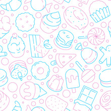 Desserts Pattern. Kids Delicious Food Sweet Cakes Biscuits Jelly Ice Cream Lollipop Cupcakes Vector Seamless Background. Illustration Of Dessert Food Cake And Lollipop, Sweet Candy And Cupcake