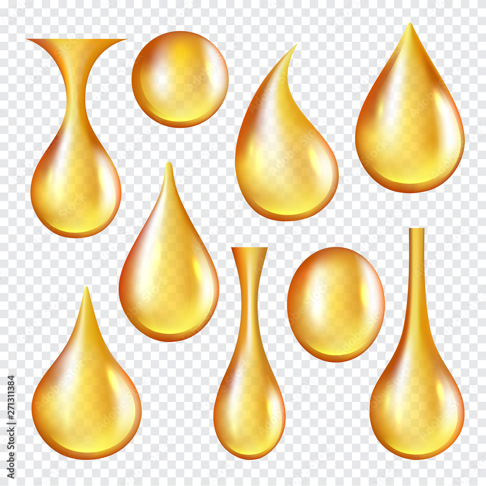 Fototapeta Oil transparent drops. Yellow liquid golden oil vector realistic collection of splashes. Transparent oil liquid, golden drop realistic isolated illustration