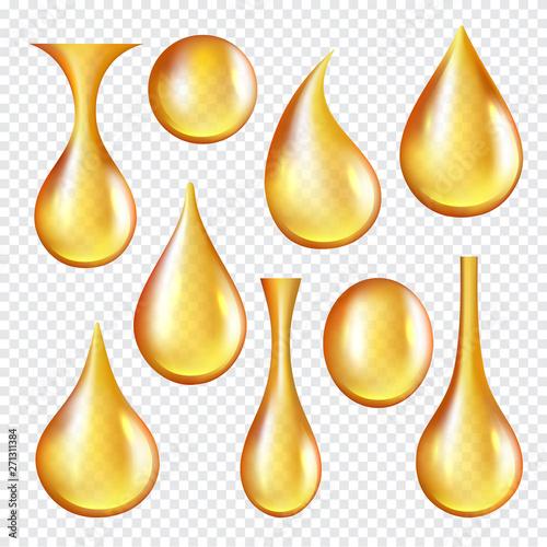 Fototapeta Oil transparent drops. Yellow liquid golden oil vector realistic collection of splashes. Transparent oil liquid, golden drop realistic isolated illustration obraz