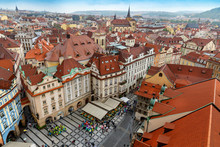 Aerial View To The Prague Old Town From Hall Tower