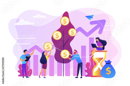 Canvas Prints Textures Money investing, financiers analyzing stock market profit. Portfolio income, capital gains income, royalties from investments concept. Bright vibrant violet vector isolated illustration