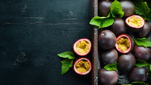 Fresh Passion Fruit With Leave...