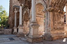 Hadrian's Gate In Old Town Kaleici District. Antalya, Turkey