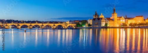 Deurstickers Praag Dusk on the River Vltava Prague Czech Republic