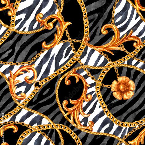 Tapety Barokowe  zloty-lancuch-glamour-w-stylu-barokowym-elementy-bezszwowe-tlo-wzor