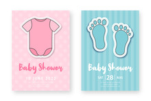 Baby Shower Greeting Card Template. Set Of Cute Posters For Birthday Party, Baby Shower Event. Pink And Blue Birthday Cards For Girls And Boys With Child Romper And Footprints