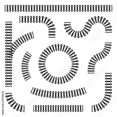 Set of railroad tracks in different shapes, straight and curves, turns and circles Fototapeta