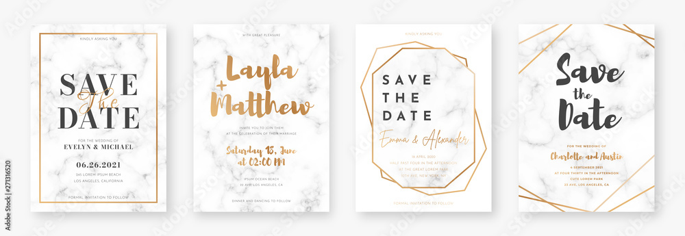 Fototapeta Wedding card design with golden frames and marble texture. Set of wedding announcement or invitation design template with geometric patterns and luxury background