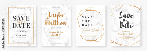 Fototapeta Wedding card design with golden frames and marble texture. Set of wedding announcement or invitation design template with geometric patterns and luxury background obraz