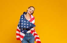 Happy Woman Girl With Flag Of ...