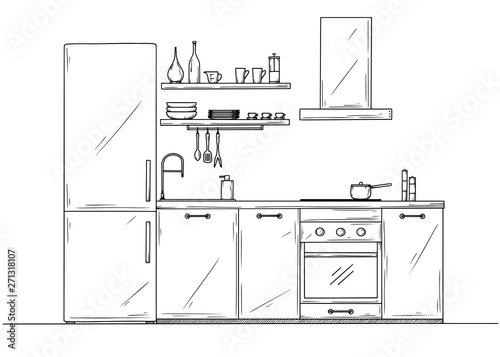 Fotografía  Sketch of the kitchen, front view. Vector