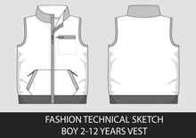 Fashion Technical Sketch For Boy 2-12 Years Vest
