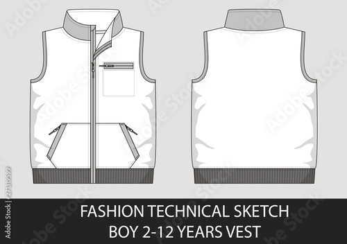 Fotografía Fashion technical sketch for boy 2-12 years vest