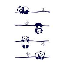Vector Seamless Pattern Cute Little Panda Bear In Different Poses,on White Background