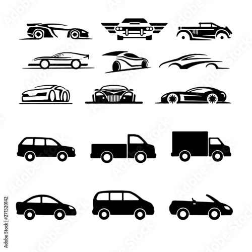 Sets of Cars and on the Road Vehicle collection vector