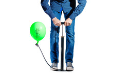 On White Background, Pump And Balloon, Man Shakes A Balloon With A Dollar Sign
