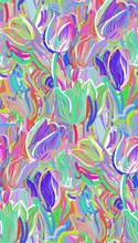 Tulips Colorful Vector Design Flower Art Painting Decoration Wallpaper Seamless Pattern Garden