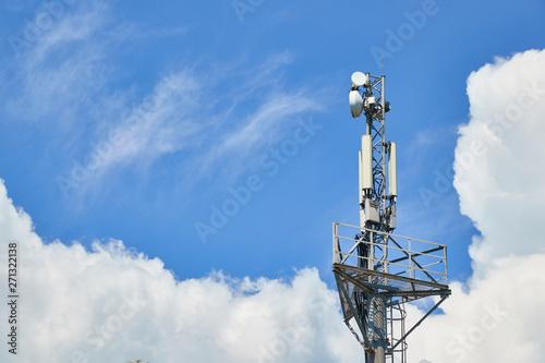 Valokuvatapetti Base station network operator. 5G. 4G, 3G mobile technologies.