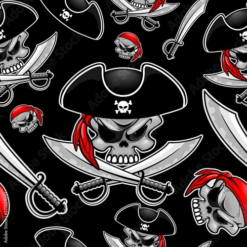 Photo Stands Draw Skull Pirate Captain with Crossed Sabers Vector Seamless Pattern