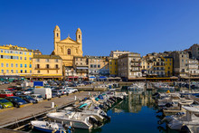 France, Corsica, Bastia, Old Harbor With St. John Baptist Church
