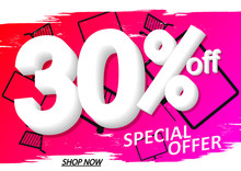 Sale 30% Off, Poster Design Template, Special Offer, Vector Illustration