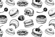 Vector Illustration Of Sketch Hand Drawn Pattern With Macarons. French Pastry Macaron, Berries, Chocolate, Cream, Fruits, Cherry, Strawberry. Dessert, Macaroon, Sweets, Menu Design, Restaurants, Shop