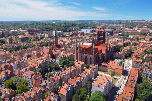Montage in der Fensternische Cappuccino Aerial view of Gdansk old town in summer scenery, Poland