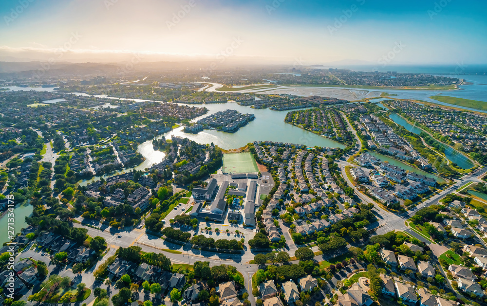 Fototapety, obrazy: Aerial view of residential real estate homes in Foster City, CA