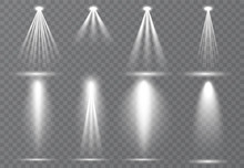 Large Set Of Scene Illumination, Transparent Effects. Bright Lighting With Spotlights Collection.