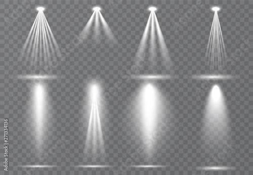 Obraz Large set of scene illumination, transparent effects. Bright lighting with spotlights collection. - fototapety do salonu