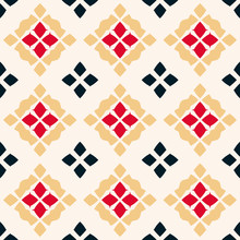 Vector Geometric Seamless Pattern. Folk Ornament. Red, Black, Yellow And White