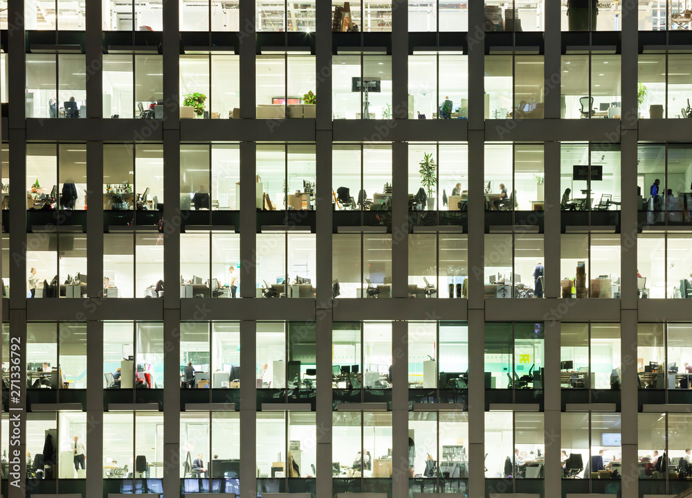 Fototapety, obrazy: Modern office building at dusk