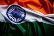 Leinwandbild Motiv Top view of National Flag of India on wooden background. Indian Independence Day.