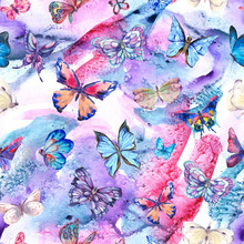 Watercolor Butterflies Vintage Seamless Pattern, Colorful Nature Abstract Texture On White