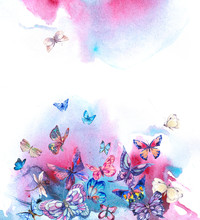 Watercolor Butterflies Vintage...