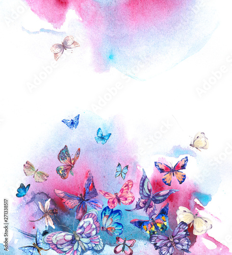Obraz na plátně  Watercolor butterflies vintage card, Ultraviolet butterfly