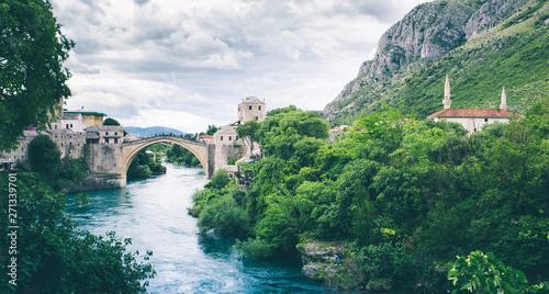 Old brigde on river Neretva in Mostar Bosnia and Herzegovina