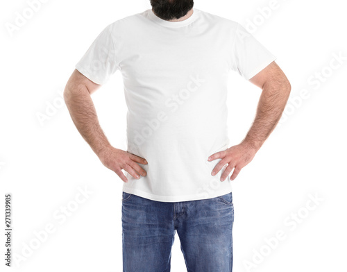 Obraz na plátne  Overweight man isolated on white, closeup. Weight loss