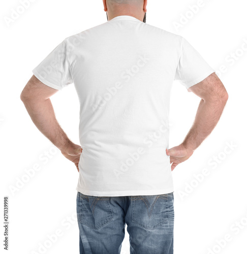 Fotografia, Obraz  Overweight man isolated on white, closeup. Weight loss