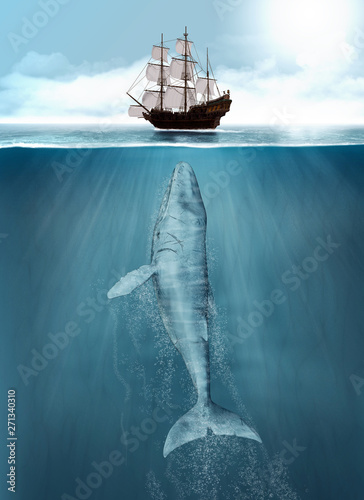 Humpback Whale hunting, ship attack Wall mural