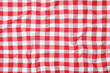 canvas print picture - Checkered picnic tablecloth as background, top view