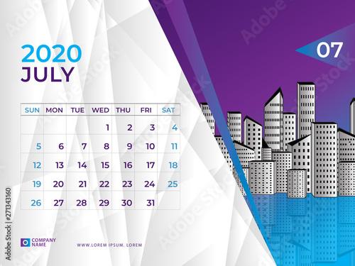 July 2020 Calendar template, Desk calendar layout Size 8 x 6